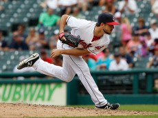 CLEVELAND, OH - AUGUST 04: Ryan Merritt #54 of the Cleveland Indians pitches against the Minnesota Twins in the ninth inning at Progressive Field on August 4, 2016 in Cleveland, Ohio. The Indians defeated the Twins 9-2.  (Photo by David Maxwell/Getty Images)
