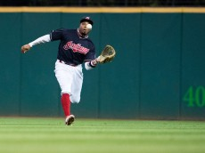 CLEVELAND, OH - SEPTEMBER 5: Center fielder Rajai Davis #20 of the Cleveland Indians catches a fly ball hit by Yulieski Gurriel #10 of the Houston Astros during the seventh inning at Progressive Field on September 5, 2016 in Cleveland, Ohio. (Photo by Jason Miller/Getty Images)  *** Local Caption *** Rajai Davis