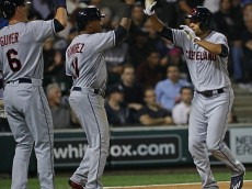 CHICAGO, IL - SEPTEMBER 14: Coco Crisp #4 of the Cleveland Indians (R) is greeted by Jose Ramirez #11 and Brandon Guyer #6 after hitting a three run home run in the 6th inning against the Chicago White Sox at U.S. Cellular Field on September 14, 2016 in Chicago, Illinois.  (Photo by Jonathan Daniel/Getty Images)