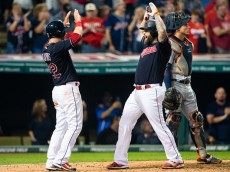 CLEVELAND, OH - SEPTEMBER 16: Jason Kipnis #22 celebrates with Mike Napoli #26 of the Cleveland Indians after both scored on a homer by Napoli during the fifth inning against the Detroit Tigers at Progressive Field on September 16, 2016 in Cleveland, Ohio. (Photo by Jason Miller/Getty Images)