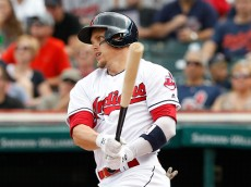 CLEVELAND, OH - SEPTEMBER 18: Brandon Guyer #6 of the Cleveland Indians hits an RBI double to score Carlos Santana #41(not pictured) against the Detroit Tigers in the second inning at Progressive Field on September 18, 2016 in Cleveland, Ohio.  (Photo by David Maxwell/Getty Images)