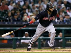 DETROIT, MI - SEPTEMBER 26:  Carlos Santana #41 of the Cleveland Indians singles against the Detroit Tigers during the fifth inning at Comerica Park on September 26, 2016 in Detroit, Michigan. Santana scored on a double by Jason Kipnis of the Cleveland Indians. (Photo by Duane Burleson/Getty Images)