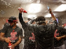 DETROIT, MI - SEPTEMBER 26: Cleveland Indians player celebrate clinching the Central Division Championship after defeating the Detroit Tigers 7-4 at Comerica Park on September 26, 2016 in Detroit, Michigan. (Photo by Duane Burleson/Getty Images)