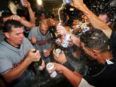 NEW YORK - OCTOBER 08:  The Cleveland Indians celebrate after defeating the New York Yankees by the score of 6-4 to win the American League Division Series in four games at Yankee Stadium on October 8, 2007 in the Bronx borough of New York City.  (Photo by Al Bello/Getty Images)